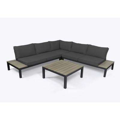 Lakeview Aluminum Outdoor Sectional Set with Charcoal Gray Cushions