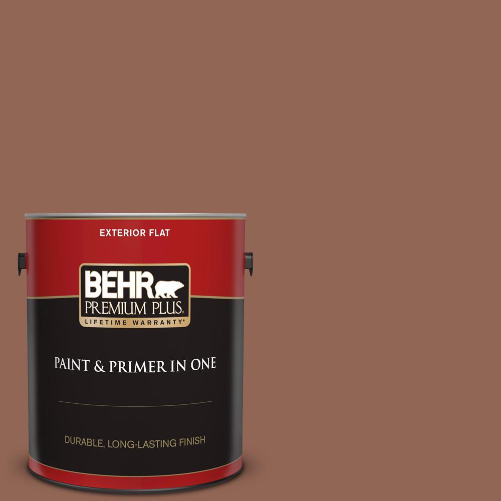 Behr Premium Plus 1 Gal S190 6 Rio Rust Flat Exterior Paint And Primer In One