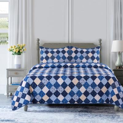 Olivia 3-Piece Blue Patchwork Microfiber Full/Queen Quilt Set