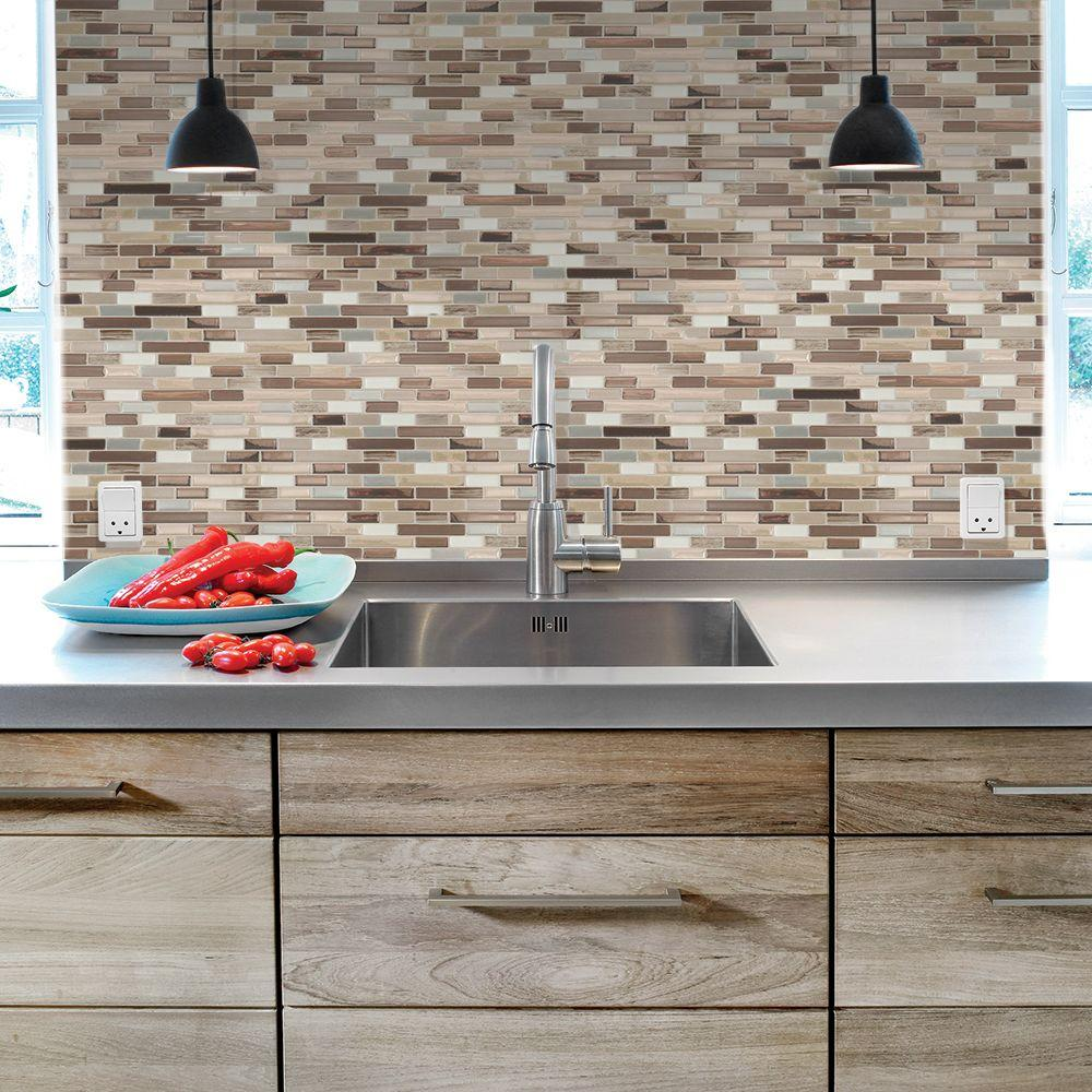 Smart Tiles Muretto Durango 10.20 in. W x 9.10 in. H Peel and Stick Decorative Mosaic Wall Tile Backsplash