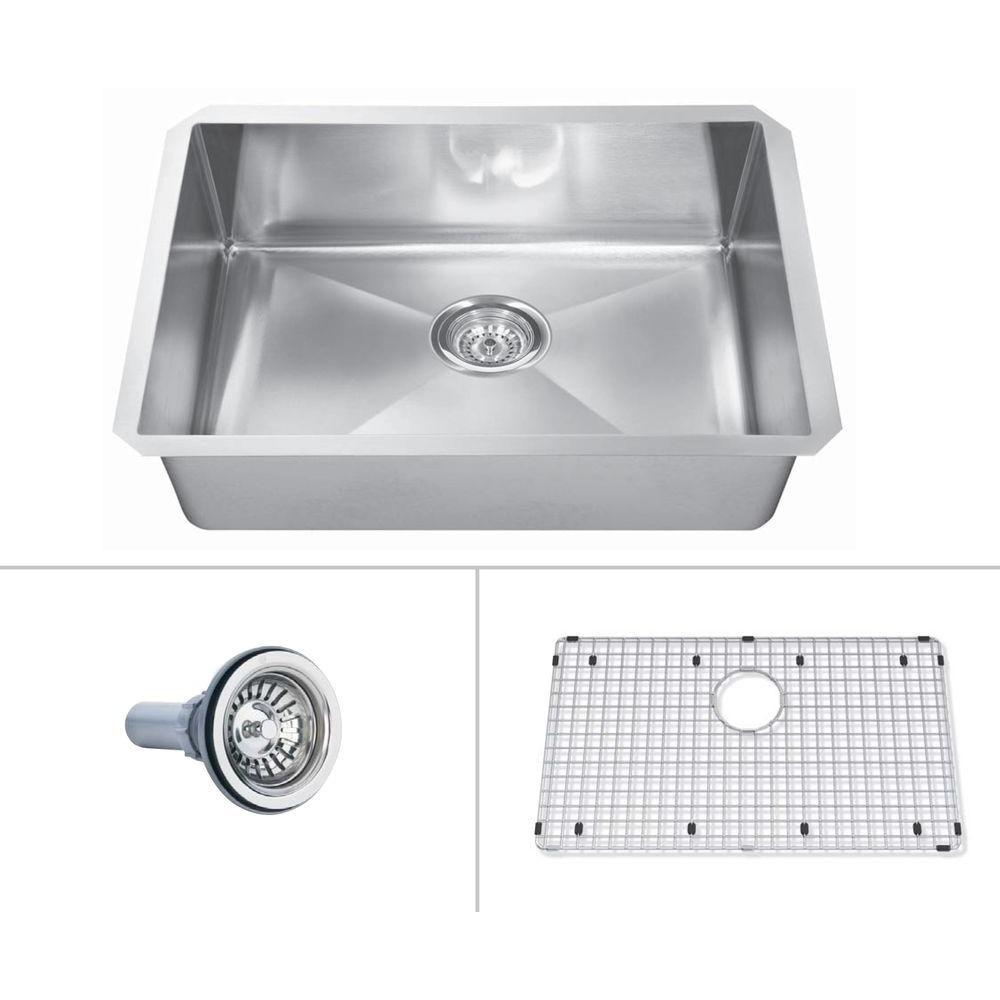 ECOSINKS Acero Platinum Combo Undermount Stainless Steel 29x18x10 0-Hole Single Basin Kitchen Sink-DISCONTINUED