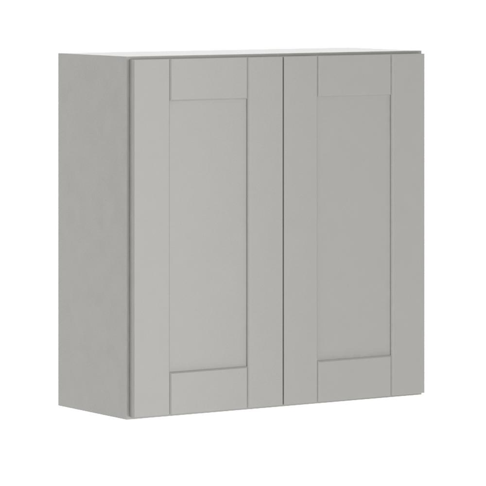 Princeton Shaker Assembled 30x30x12 in. Wall Cabinet in Warm Gray
