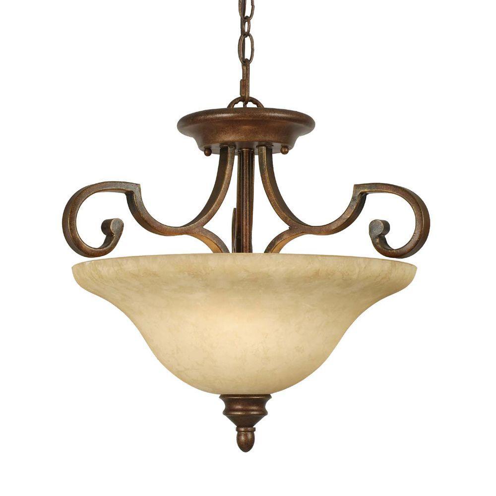 null Hollis Collection 3-Light Champagne Bronze Semi-Flush Mount Light