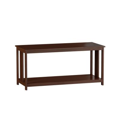 42 in. Brown Large Rectangle Wood Coffee Table with Shelf