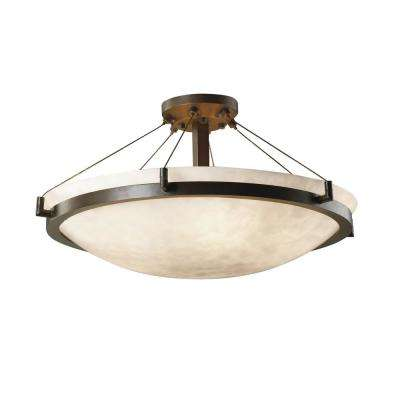 Clouds Ring 27 in. 6-Light Dark Bronze Semi-Flush Mount with Clouds Shade