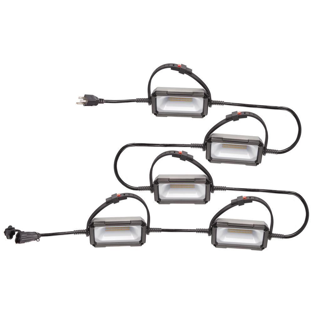 Husky 50 ft 5-Bulb Lighting String Cord Light Indoor Construction Work Lights