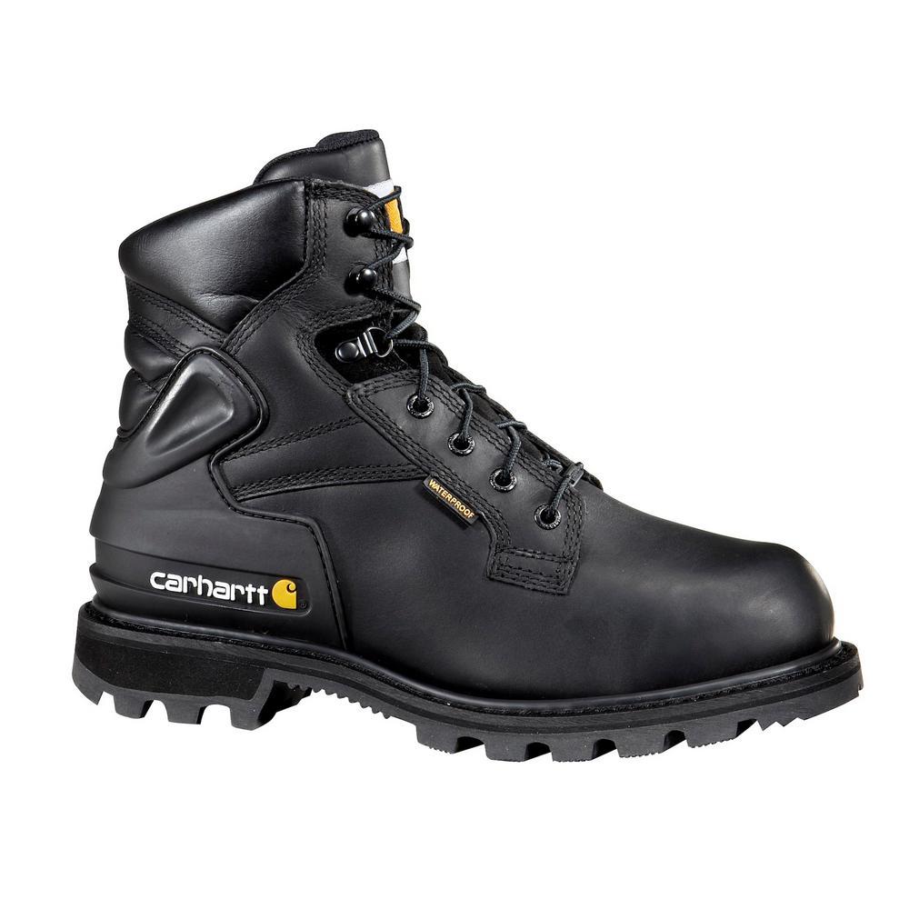 cbe83727dee Carhartt Men's 10.5W Black Leather Waterproof Lug Bottom Internal Met Guard  Steel Safety Toe 6 in. Lace-up Work Boot
