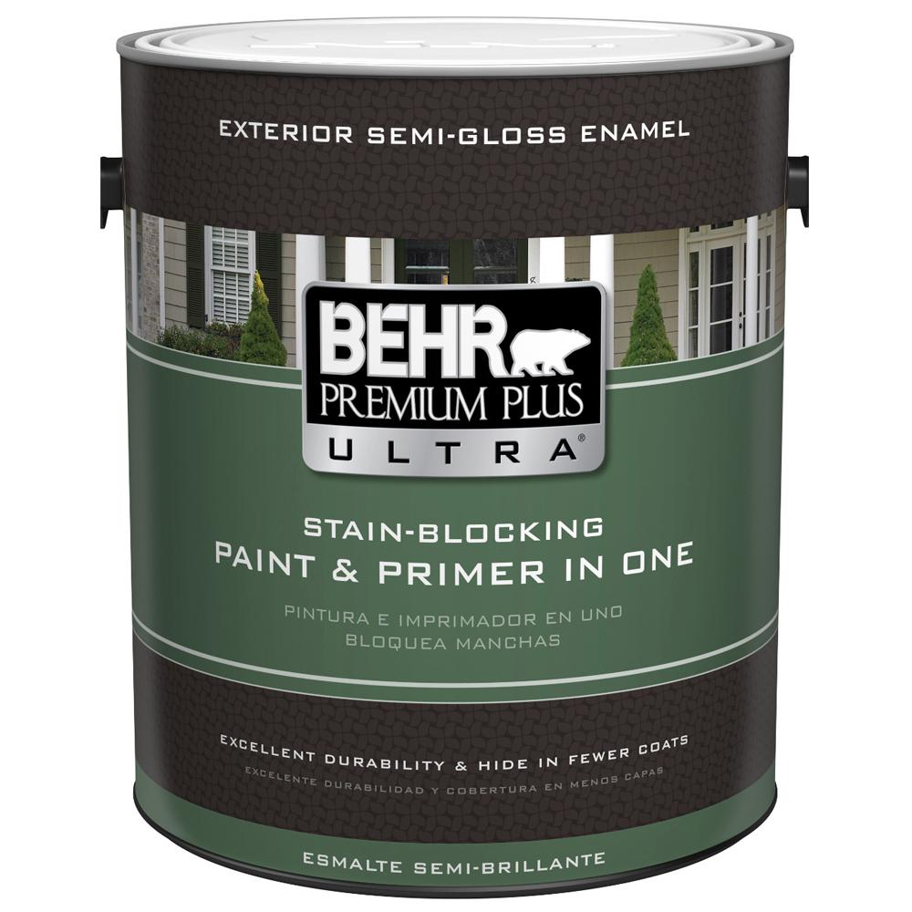 Behr premium plus ultra 1 gal ultra pure white semi gloss enamel exterior 585001 the home depot for Behr exterior white paint colors