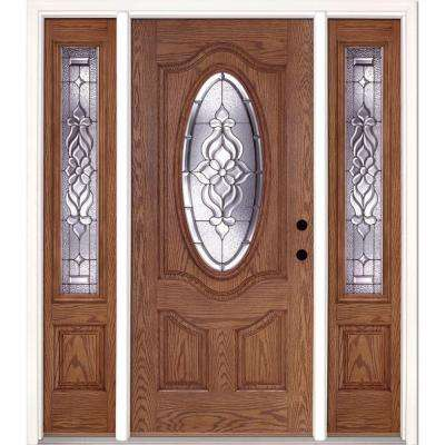 outside doors at home depot. 63 5 in x81 625  Lakewood Zinc 3 4 Oval Lite Stained Front Doors Exterior The Home Depot