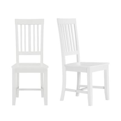 Scottsbury White Wood Dining Chair with Slat Back (Set of 2) (16.7 in. W x 38.7 in. H)
