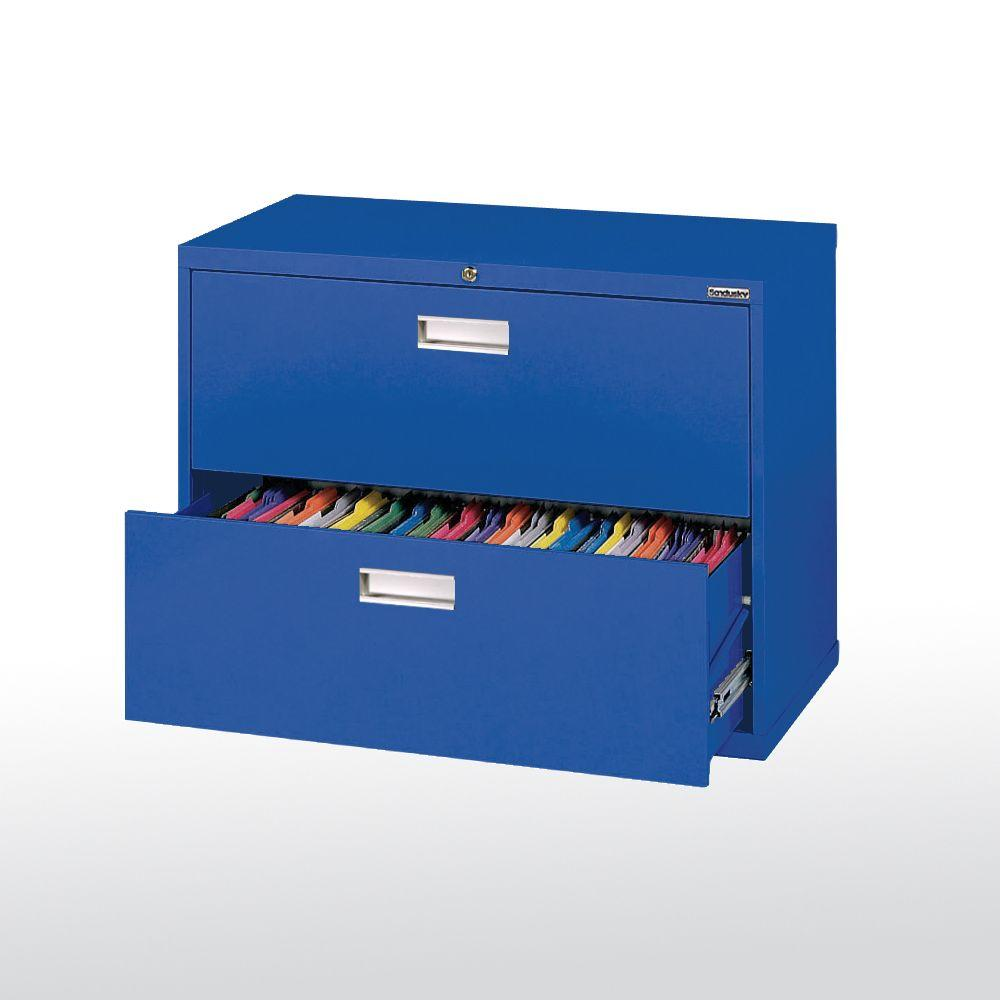 Sandusky 600 Series 36 in. W 2-Drawer Lateral File Cabinet in Blue