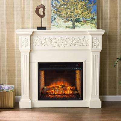 Dunkirk 44.5 in. W Carved Infrared Electric Fireplace in Ivory