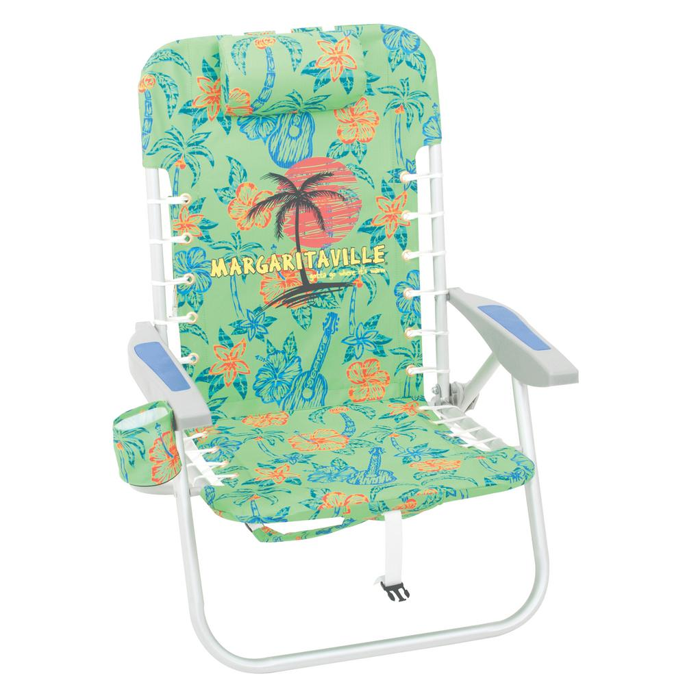Lace-Up Green Palm Tree Aluminum Backpack Beach Chair