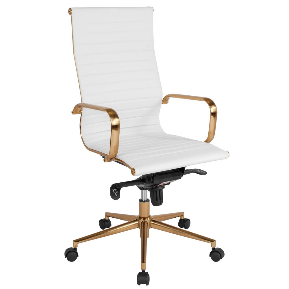 Flash Furniture White Leather Gold Frame Office Desk Chair Cga Bt 239685 Wh Hd The Home Depot
