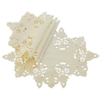 12 in. x 18 in. Ivory Victorian Lace Embroidered Cutwork Placemat (Set of 4)