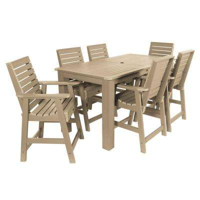 Weatherly Tuscan Taupe 7-Piece Recycled Plastic Rectangular Outdoor Balcony Height Dining Set