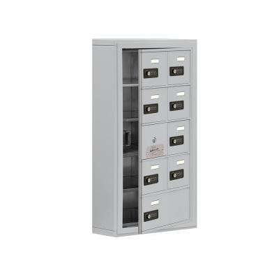 19100 Series 17.5 in. W x 31 in. H x 6.25 in. D 8 Doors Cell Phone Locker Surface Mount Resettable Lock in Aluminum