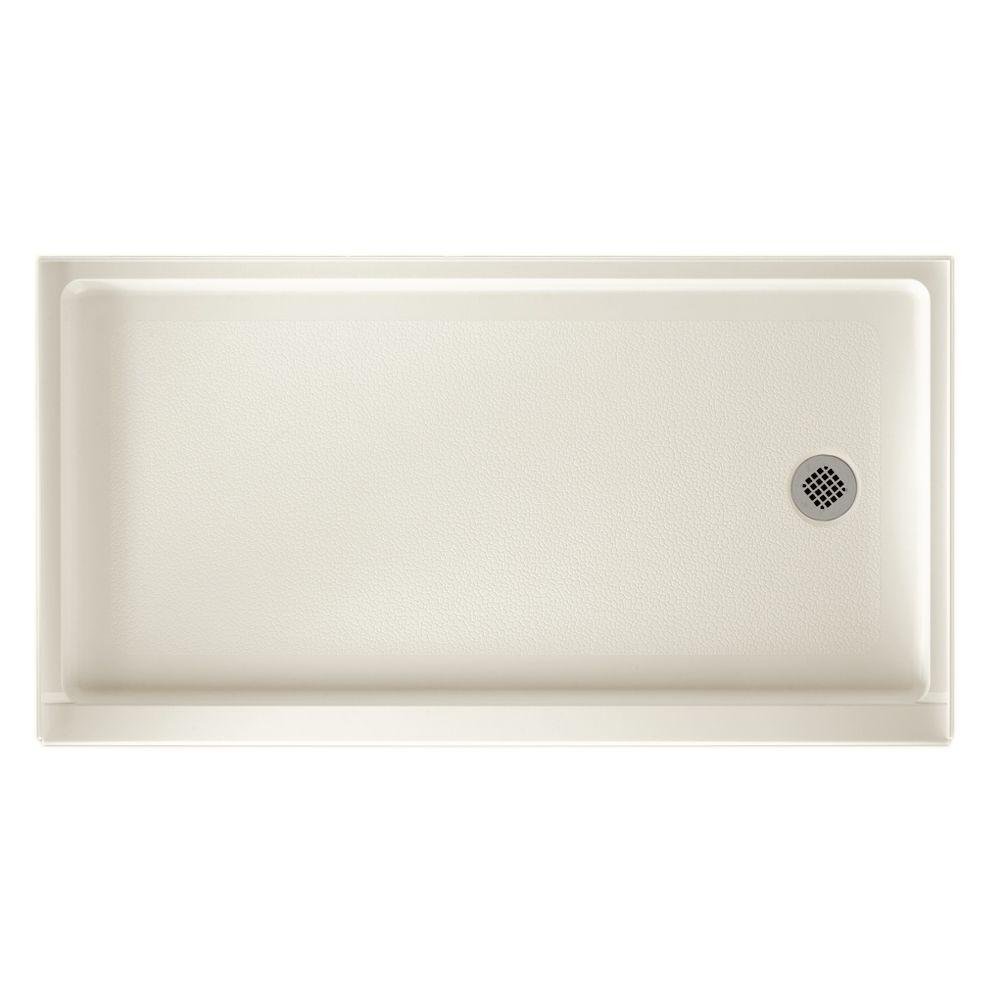 Swan 32 in. x 60 in. Solid Surface Single Threshold Retrofit Right Drain Shower Floor in Bisque