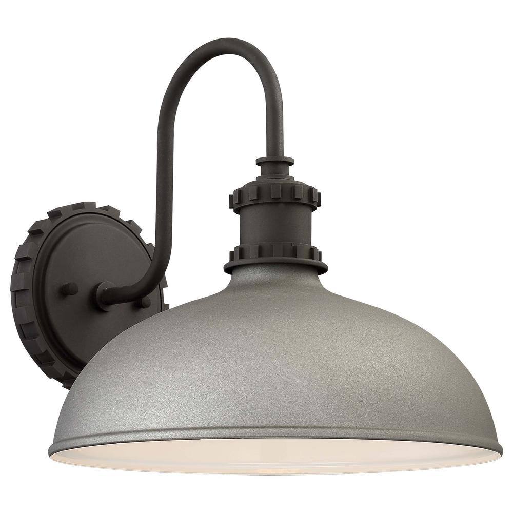 the great outdoors by Minka Lavery Escudilla Collection 1-Light Sand Silver Finish Outdoor Wall Lantern Sconce