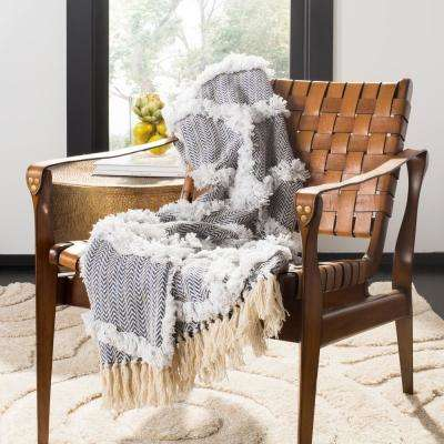 Lachlan Fringe Blue/White Throw