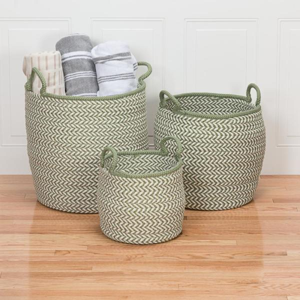 Preve 15 in. x 15 in. x 15 in. White and Green Round Polypropylene Braided Basket