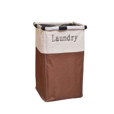 Brown and White Portable Single Lattice Laundry Basket Fabric