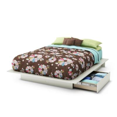 Step One Pure White Queen Platform Bed with Storage