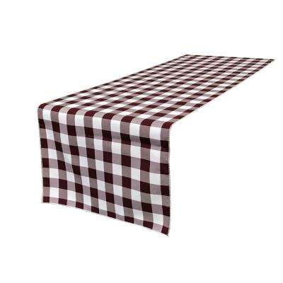 14 in. x 108 in. White and Burgundy Polyester Gingham Checkered Table Runner