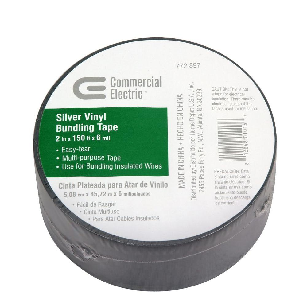 Commercial Electric 2 in. x 150 ft. Vinyl Electrical Bundling Tape - Silver