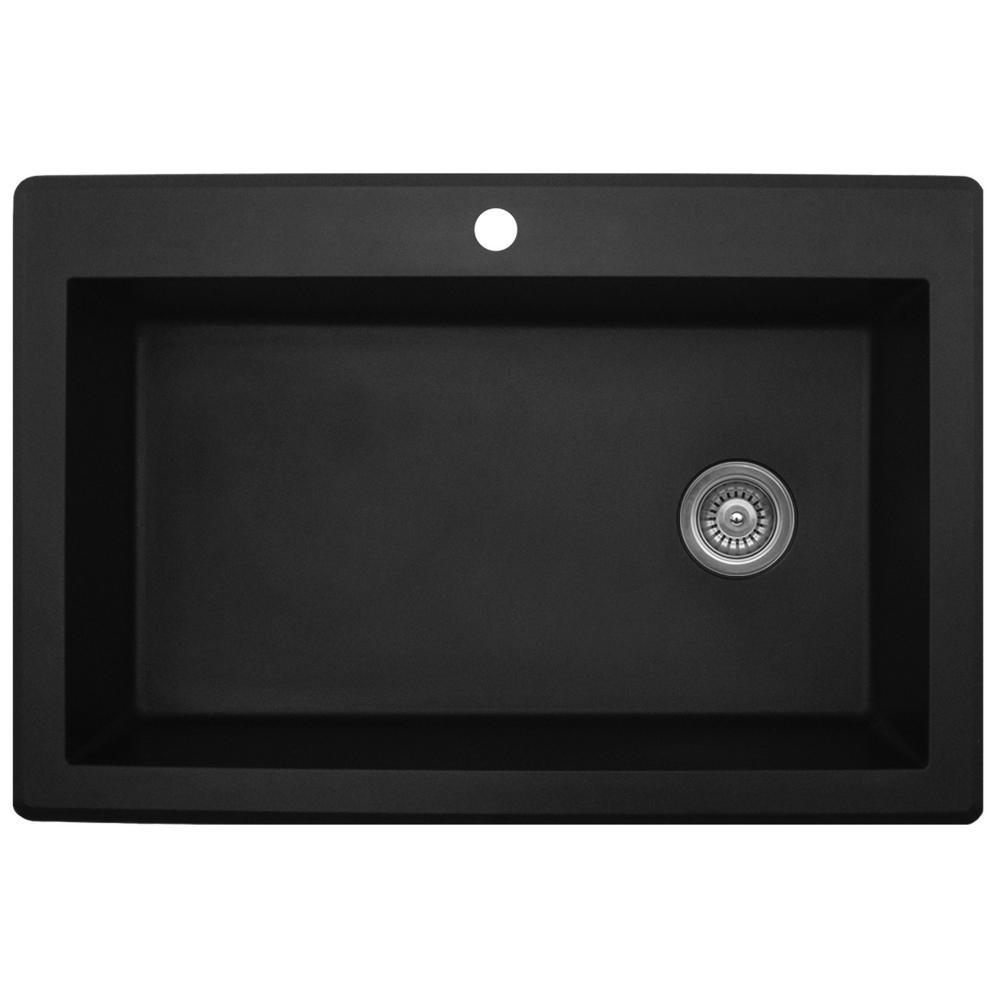 Drop-In Quartz Composite 33 in. 1-Hole Single Bowl Kitchen Sink in Black