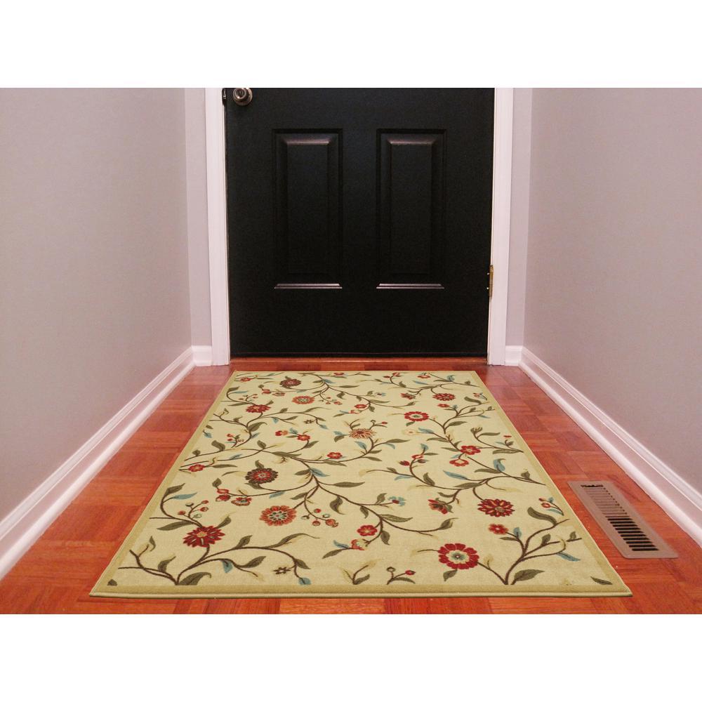 Rooster Tapestry Non Skid Rug: Ottomanson Floral Garden Design Beige 3 Ft. 3 In. X 5 Ft