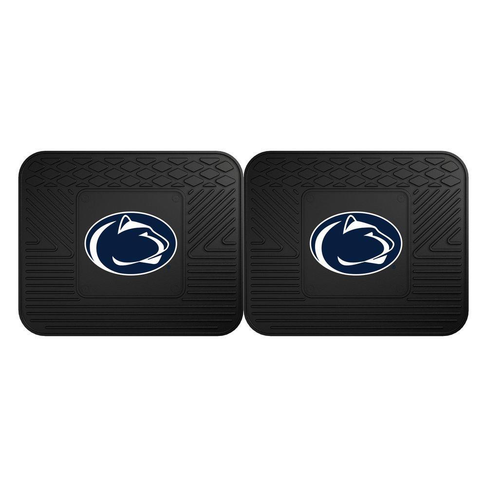 NCAA Penn State Black Heavy Duty 2-Piece 14 in. x 17 in. Vinyl Utility Mat