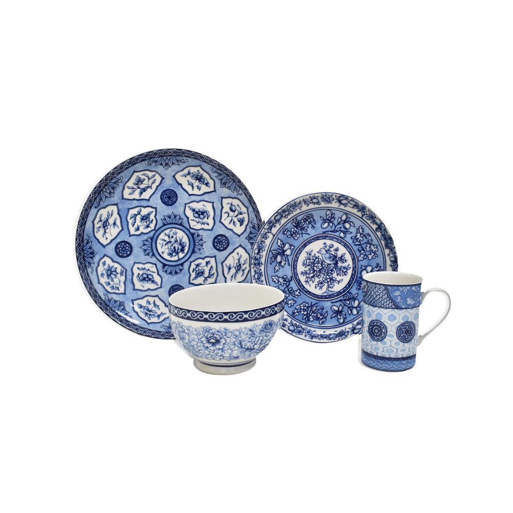 Dynasty 16-Piece Blue Dinnerware Set