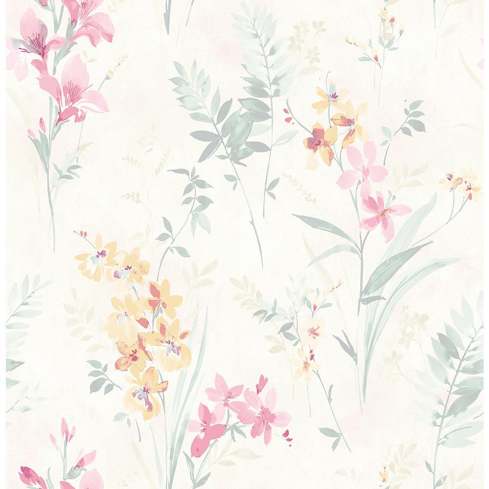 Chesapeake 8 In X 10 In Henrietta Pastel Floral Wallpaper Sample