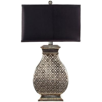 Malaga 29 in. Antique Silver Hammered Metal Table Lamp with Satin Black Shade