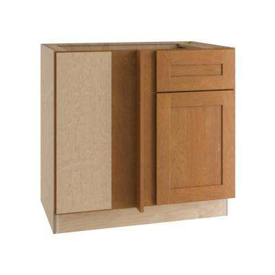 Hargrove Assembled 36x34.5x24 in. Single Door and Drawer Hinge Left Base Kitchen Blind Corner Cabinet in Cinnamon