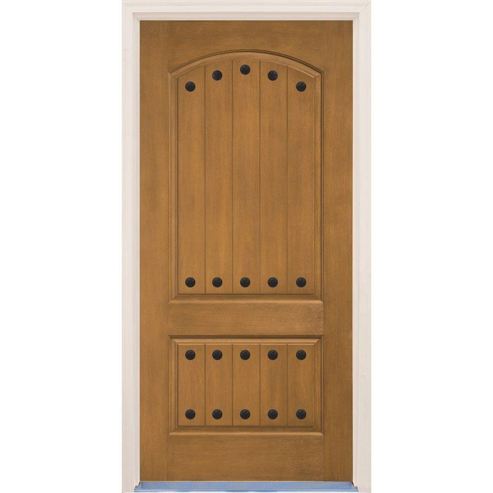 Builder's Choice 36 in. x 80 in. 2-Panel Arch Top V-Groove Natural Oak Stained Prefinished Fiberglass Prehung Front Door
