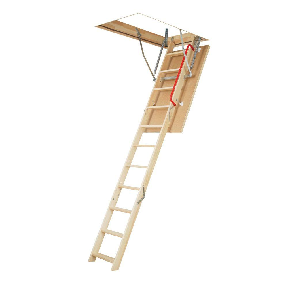 fakro lwsp 87 ft 107 ft 225 in x 54 in insulated wood attic ladder with 300 lb maximum load the home depot