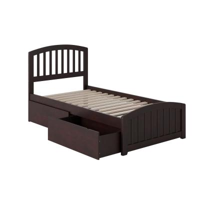 Richmond Twin Platform Bed with Matching Foot Board with 2 Urban Bed Drawers in Espresso