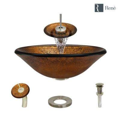 Glass Vessel Sink in Orange Gold Foil with Waterfall Faucet and Pop-Up Drain in Bushed Nickel