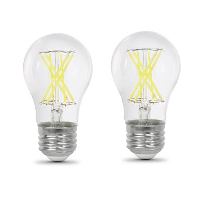 60-Watt Equivalent A15 Dimmable Filament CEC Title 20 90+ CRI Clear Glass LED Ceiling Fan Light Bulb Daylight (2-Pack)