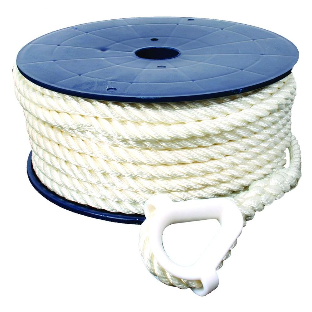 150 ft. 1/2 in. 3-Strand Nylon Anchor Line with Anchor Thimble