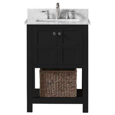 Makena 25 in. W x 22 in. D x 34.2 in. H Bath Vanity in Espresso with Carrara Marble Vanity Top in White with White Basin