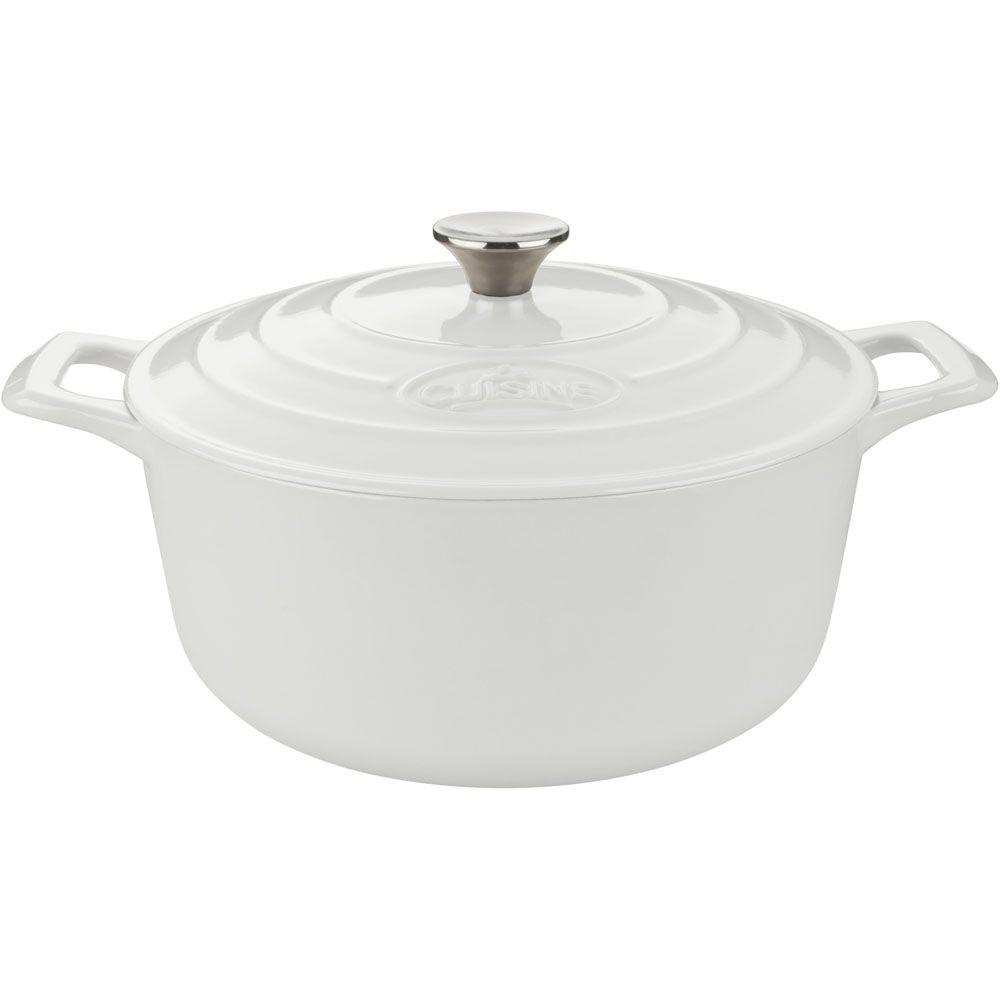 La Cuisine 5 Qt. Cast Iron Round Casserole with White Enamel