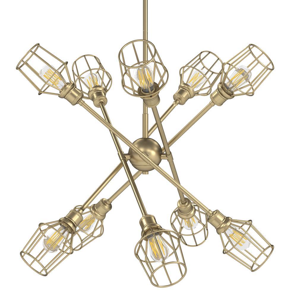 Golden Lighting Axel 10-Light Olympic Gold Sputnik Chandelier