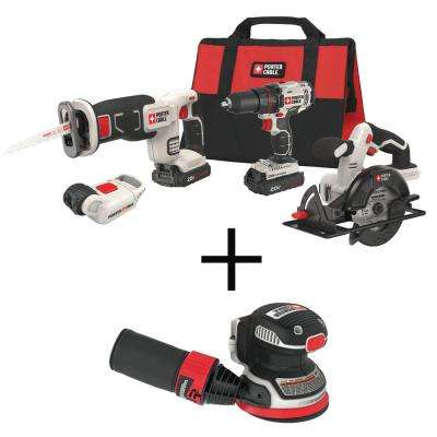 20-Volt MAX Lithium-Ion Cordless Combo Kit (4-Tool) with BONUS 20-Volt MAX 5 in. Random Orbit Disc Sander (Tool-Only)