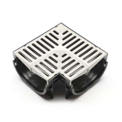 Compact Series 90 Corner for 3.2 in. D Trench and Channel Drain Systems in Black with Gray Grate