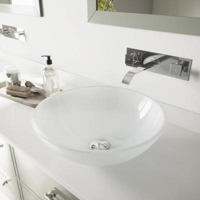 Glass Round Vessel Bathroom Sink in Frosted White with Titus Faucet and Pop-Up Drain in Chrome