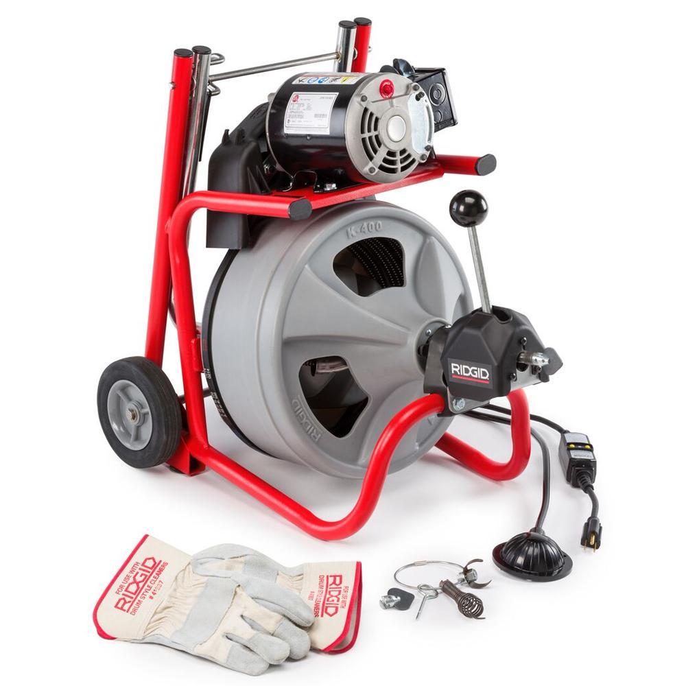 ridgid 115 volt k 400 drum machine with c 31 3 8 in integral wound115 volt k 400af autofeed drum machine with c 45 1 2