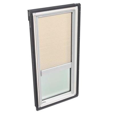 22-1/2 in. x 45-3/4 in. Fixed Deck-Mount Skylight with Laminated Low-E3 Glass and Beige Manual Room Darkening Blind
